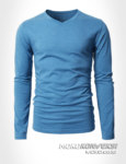 kaos online v neck lengan panjang warna biru muda - moko konveksi kaos kerah v pria wanita