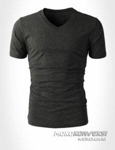 model kaos kerah v warna abu - moko konveksi desain kaos keren v neck