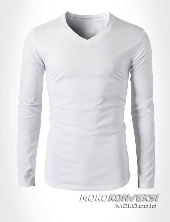 supplier kaos polos lengan panjang warna putih moko konveksi - kaos v neck pria wanita