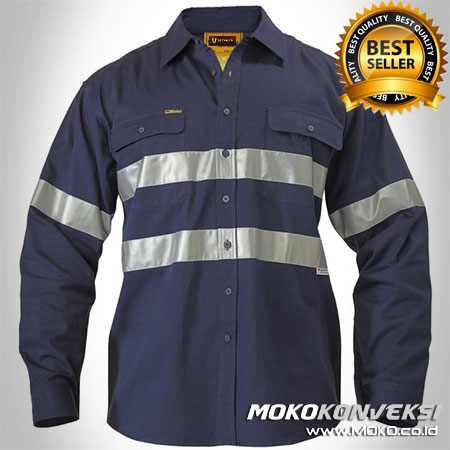 Kemeja Wearpack Safety Warna Dongker - Supplier Pakaian Wearpack Montir Warna Dongker - Kemeja Safety Wearpack Warna Dongker