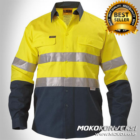 Baju Safety Warna Kuning Dongker - Model Baju Safety Pabrik Warna Kuning Dongker - Kemeja Safety Wearpack Warna Kuning Dongker