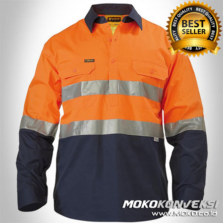 Kemeja Wearpack Safety Warna Orange Dongker - Desain Baju Safety SMK Warna Orange Dongker - Baju Safety Wearpack Warna Orange Dongker