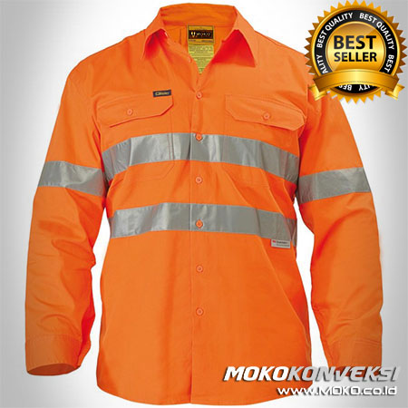 Pakaian Wearpack Safety Warna Orange - Ukuran Baju Safety Proyek Warna Orange - Kemeja Safety Wearpack Warna Orange