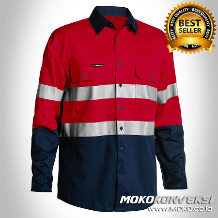 Kemeja Safety Wearpack Warna Merah Dongker - Jual Baju Safety K3 Warna Merah Dongker - Baju Wearpack Safety Warna Merah Dongker