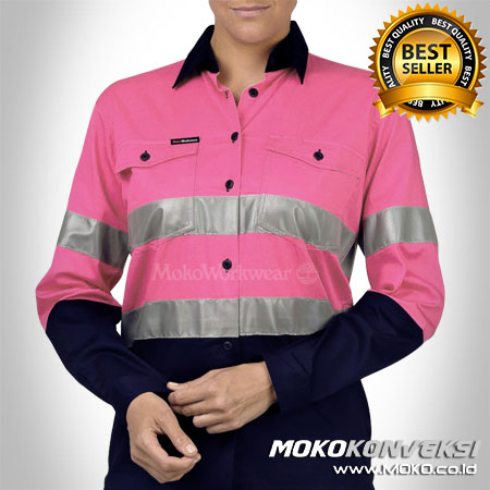 Wearpack Warna Pink Dongker - Model Pakaian Safety SMK Warna Pink Dongker - Baju Safety Wearpack Warna Pink Dongker